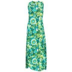 60s Pertegaz Quited Green Watercolor Floral Maxi Dress