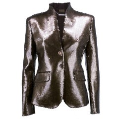 Alexander McQueen Sexy Fitted Brown Sequin Blazer