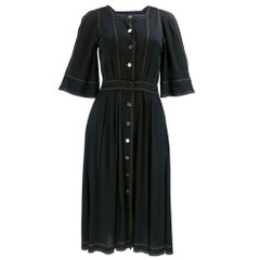 70s Jean Muir Black Jersey Dress with Contrasting Stitch