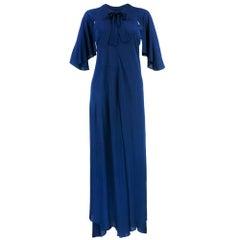 70S Jean Muir Blue jersey Maxi Wrap Dress