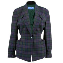 80s Thierry Mugler Plaid  Fitted Jacket