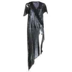 Lifetime Versace Attribution Distressed Black Metal Mesh Dress