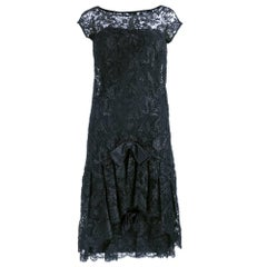 60s Adele Simpson Black Lace Cocktail Dress