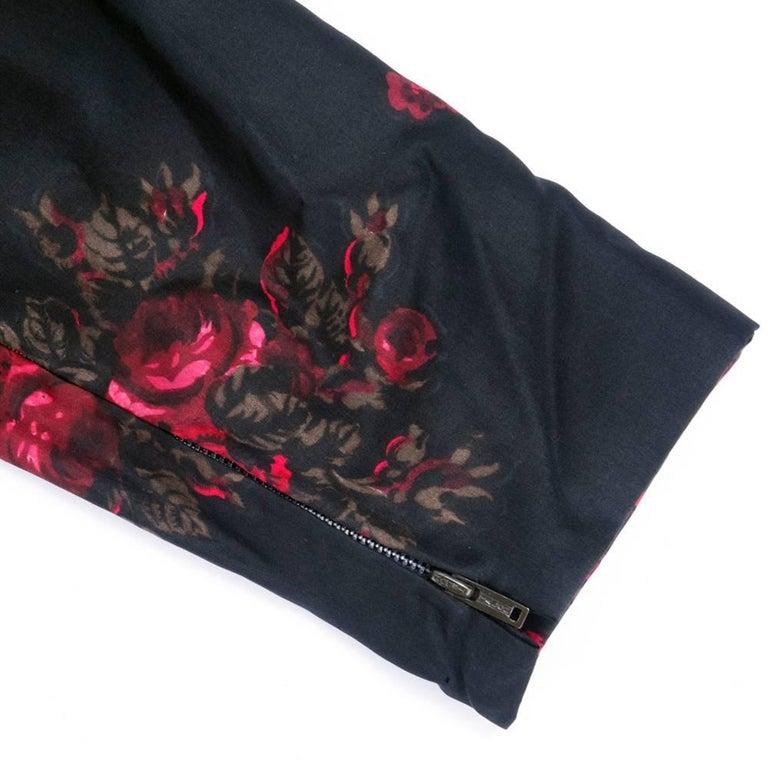 60s Trigere Black Silk Floral Blousoned Afternoon Dress 4