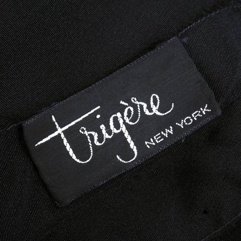 60s Trigere Black Silk Floral Blousoned Afternoon Dress 7