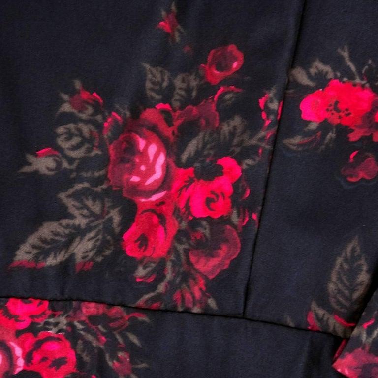 60s Trigere Black Silk Floral Blousoned Afternoon Dress 5