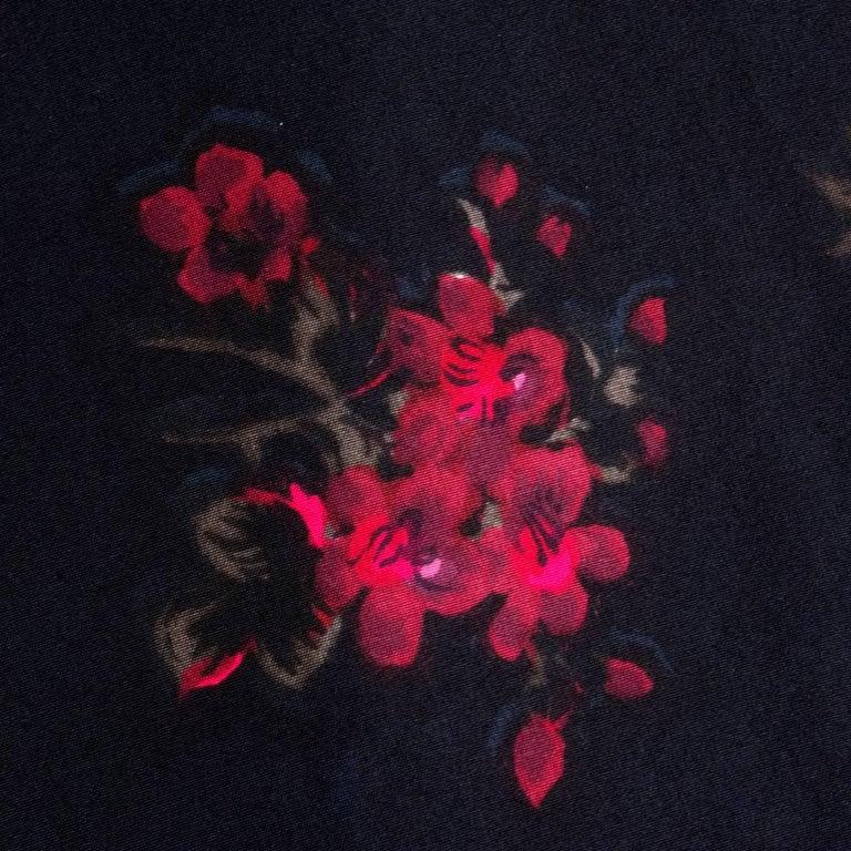 60s Trigere Black Silk Floral Blousoned Afternoon Dress 6