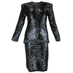 80s YSL Black Sequin Evening Suit