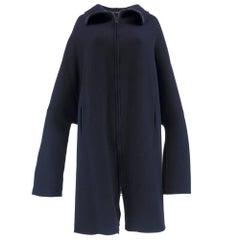 Avant Garde 90s Yohji Yamamoto Navy Blue Wool Blend Oversize Coat
