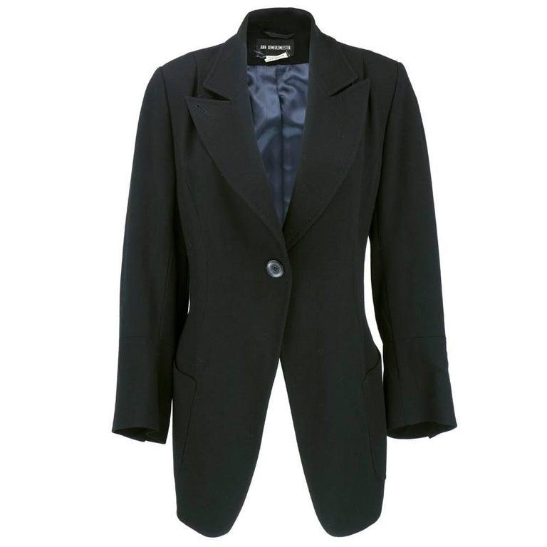 ANN DEMEULEMEESTER 90s Black Fleece Wool Blazer For Sale