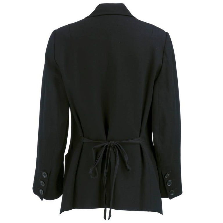 ANN DEMEULEMEESTER 90s Black Fleece Wool Blazer In Excellent Condition For Sale In Los Angeles, CA