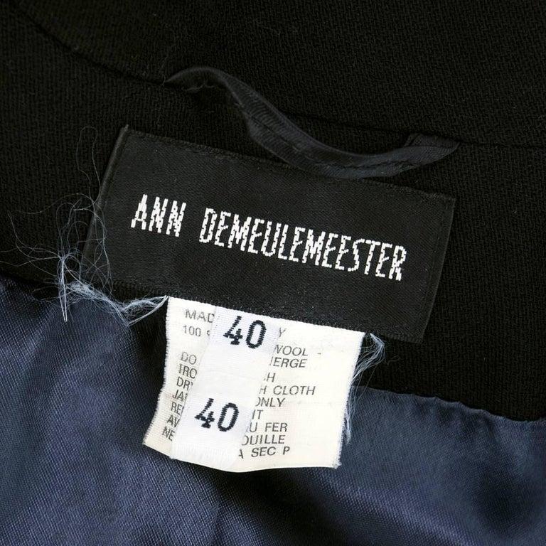 ANN DEMEULEMEESTER 90s Black Fleece Wool Blazer For Sale 1