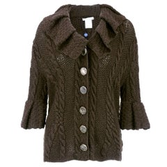 Oscar de la Renta Brown Cashmere Cable Knit Cardigan