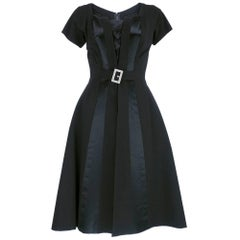 Emilio Schubert 50s Black Paneled Cocktail Dress