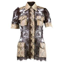 Dolce & Gabbana Chocolate Brown Lace and Snakeskin Safari Blouse