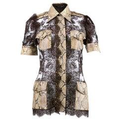 Dolce & Gabbana Chocolate Brown Lace and Snakeskin Safari Blouse