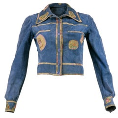 Roberto Cavalli 1970s Blue Suede Patchwork Shirt