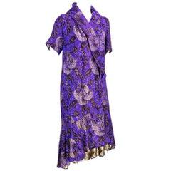 1920s Purple and Gold Lamé Short Sleeve Deco Coat