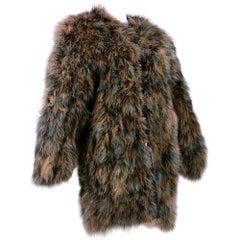 Chantal Thomass 1980s Ice Grey and Brown Marabou Coat