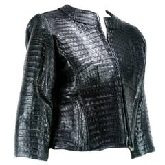 Black Crocodile Leather Jacket, Custom Made