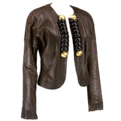 Gianfranco Ferre 1990s Snakeskin Jacket with Wood Accents