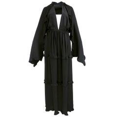 70s Galanos Black Silk Halter Gown