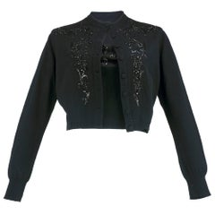 50s Balmain Black Embellished Knit Bustier with Cardigan