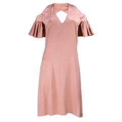 Chloe Nude Silk Cold Shoulder Slip Dress