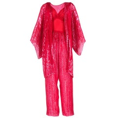 70s Halston Candy Apple Red Disco Ensemble