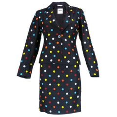 Moschino 90s Black Suit with Multi-Color Beaded Polka Dots