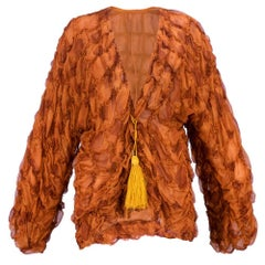 Galanos 80s Pumpkin Silk Tufted Zip Front
