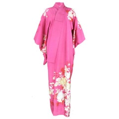 Pink Jacquard Japanese Kimono with Gold Embroidered Floral Print