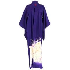 Gorgeous  30s  Purple Japanese Silk Kimono with Floral Print