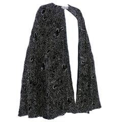 80s Ralph Lauren Purple Label Black Velvet Heavily Beaded Deco Cape
