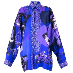 80s Lifetime Gianni Versace Silk Fashion Print Oversized Shirt