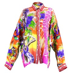 Lifetime Gianni Versace Oversized Silk Miami Themed Shirt