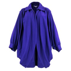 70s Saint Laurent Purple Oversized Wool Cocoon Jacket