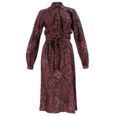 70s Halston Wrap Dress in Warm Autumnal Colors