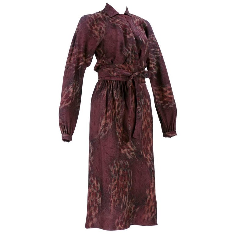 70s Halston Wrap Dress In Warm Autumnal Colors For Sale At