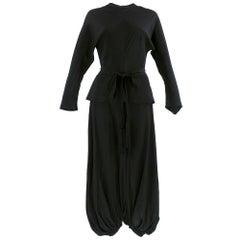 Incredible 70s Lanvin Black Silk Jumpsuit with Tassels