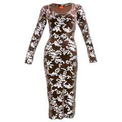 90s Vivienne Westwood Brown Bodycon Velvet Silver Stenciled Dress