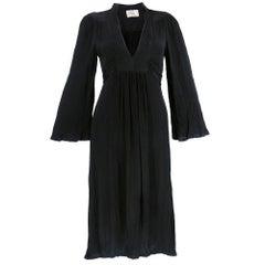 70s Ossie Clark Black Crepe Peasant Style Dress