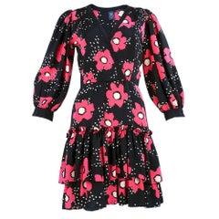 70 Emmanuel Ungaro Floral Print Silk Mini Dress