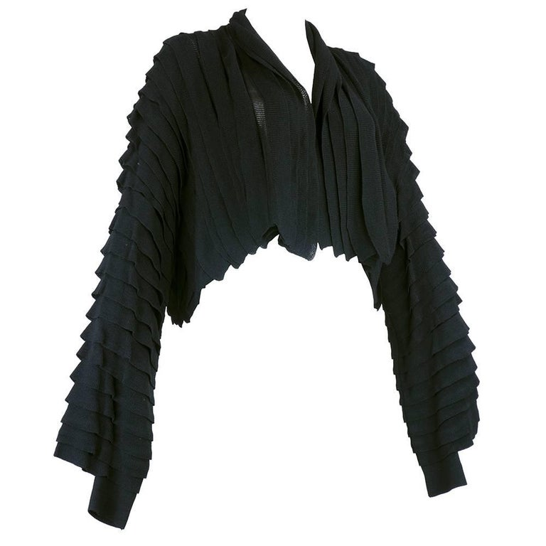 Issey Miyake Black Tiered Knit Cropped Cardigan For Sale at 1stdibs