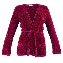 70s Saint Laurent Rive Gauche Rasberry Chenille Crochet Cardigan