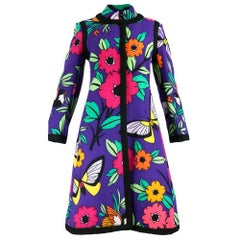 60s Donald Brooks Purple Butterfly Print Coat