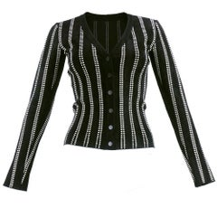 Contemporary Alaia Black and White Knit Cardigan