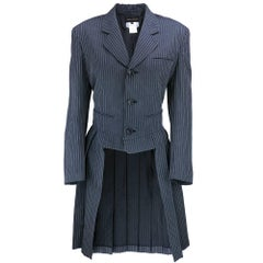 90s Comme des Garcons Pinstriped Jacket with Pleated Skirt Back