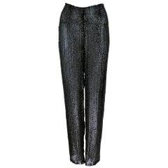 90s Krizia Black Sheer Sequin Evening Pants