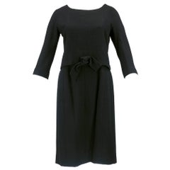 60s Christian Dior Couture Black 2 piece Wool Dress